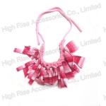 Pink Rainbow Colored Fringe Necklace