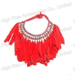 Red Fringe Beads Linked Collar Necklace