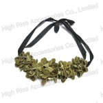 Green Fabric Flowers Necklace