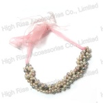 Multiple Faux Pearls Beaded Necklace With Lace Tie