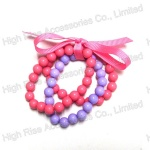 Two Color Three Strands Beads Bracelet With