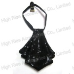 Black Sequin Necktie Collar
