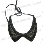 Black Beads Collar With Black Ribbon Tie