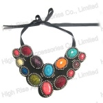 Colored Stones Felt Collar/ Necklace Collar