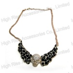 Crystal Skull Animal Pattern Metal Collar, Collar Necklace