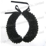 Multiple Beads Black Oval Collar