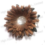 Clear Stone Heart Brown Flower Hair Clip And Brooch Pin
