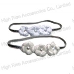 Silver Glitter Elastic Band Flower Headband