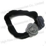 Black Crocheted Flower Elastic Headband With Flower
