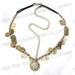 Antique Brass Charms Pearls Indian Forehead Elastic Headband