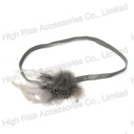 Grey Feather Flower Charms Elastic Headband