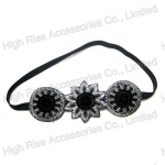Embroidered Flower Charm Elastic Headband