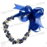 Beads links with Gauze Ribbon Tie Necklace