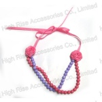 Two Color Beaded Necklace with Ribbon Flower