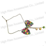 Colored Fabric Bow Necklace