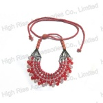 Multiple Beads Collar Necklace With Adjustable Cord