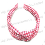 Pink Checked Knotted Bow Alice Band