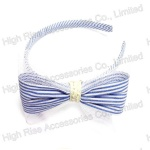 Blue Stripe Bow Alice Band