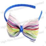 Rainbow Colored Mesh Bow Alice Band
