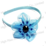 Light Blue Mesh Flower With Stones Alice Band