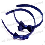 Dark Blue Ribbon Bow Alice Band