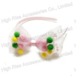 Mesh Bow With Colorful Pom Pom Alice Band