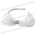Silver Glitter Dots Mesh Bow Alice Band
