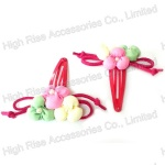 Cotton-Filled Flower Snap Clip Hair Clip