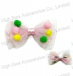 Mesh Bow With Colorful Pom Pom Alligator Clip