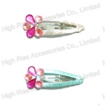Colored Crystal Flower Snap Clip