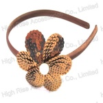 Brown Sequin Flower Alice Band