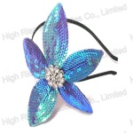 Bluish Violet Sequin Flower Alice Band