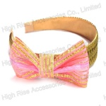 Golden Sequin Band With Pink Lace Bow Alice Band