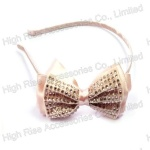 Crystal Studded Pink Bow Alice Band
