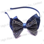 Crystal Blue Ribbon Bow Alice Band