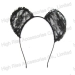 Black Lace Ear Alice Band, Halloween Headband