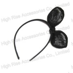 Black Lace Ear Bow Alice Band