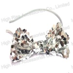 Silver Sequin Lace Bow Alice Band