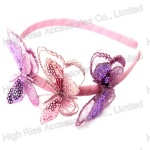Three Sequin Nylon Butterfly Alice Band