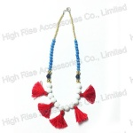 Colored Round Beads With Red Fringes Necklace