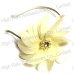 Light Yellow Chiffon Flower With Pearls Alice Band