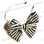 Stripe Butterfly Bow Alice Band