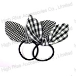 White And Black Checked Bow Hair Elastic Band