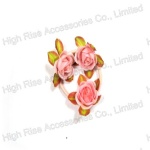 Pink Rose Hair Elastic Band, Wrist Flower , Hair Bun Flower