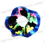 Blue Ribbon Fringe Chiffon Scrunchie