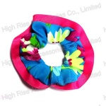 Fuschia Grosgrain Ribbon Fringe Scrunchie
