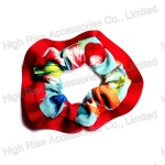 Red Grosgrain Ribbon Fringe Chiffon Scrunchie