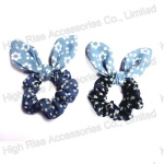 Two-tone Flowers Pattern Jean Ear Scrunchie