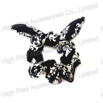 White Floral Pattern Ear Scrunchie