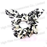 Black Floral Pattern Ear Scrunchie